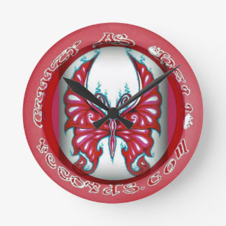 """Pink Butterfly 8"""" Round Wall Clock"""