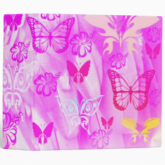 Pink butterfly abstract 3 ring binder
