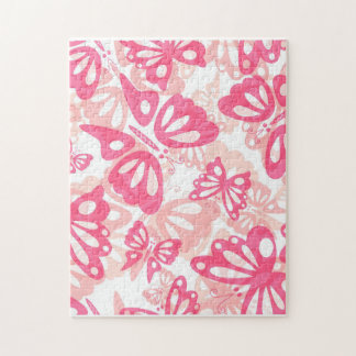 Pink Butterfly Abstract Pattern Jigsaw Puzzle