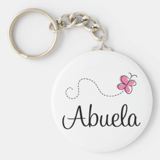 Pink Butterfly Abuela Gift Tee Basic Round Button Keychain