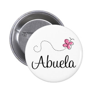 Pink Butterfly Abuela Gift Tee Pinback Button
