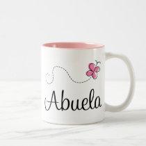 Pink Butterfly Abuela Gift Tee Two-Tone Coffee Mug