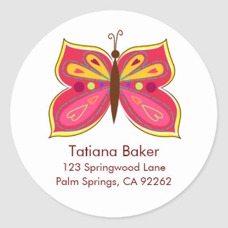 Pink Butterfly Address Labels Classic Round Sticker