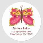 Pink Butterfly Address Labels Sticker