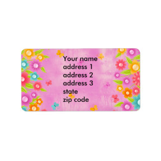Pink butterfly and flowers custom address labels