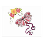 Pink Butterfly And Flowers Post Card