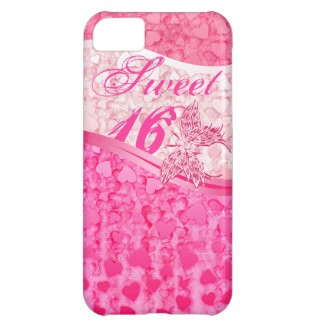 Pink butterfly and hearts in 3 pink tones sweet 16 iPhone 5C cover