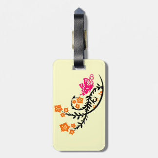 Pink Butterfly and Orange Flowers Luggage Tag