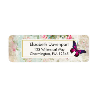 Pink Butterfly and Shabby Vintage Roses Label