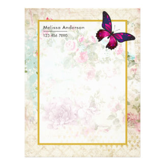 Pink Butterfly and Shabby Vintage Roses Letterhead
