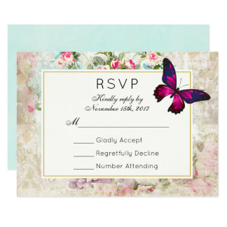 Pink Butterfly and Vintage Roses Wedding RSVP Card