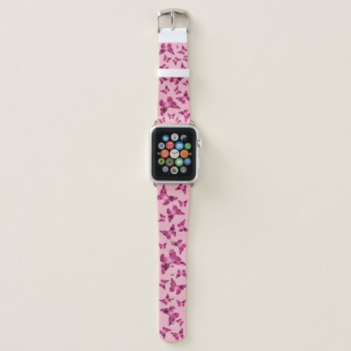 Pink Butterfly Apple Watch Band