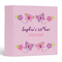 Pink Butterfly Baby Photo Album 3 Ring Binder