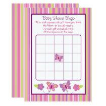 Pink Butterfly Baby Shower Bingo Card