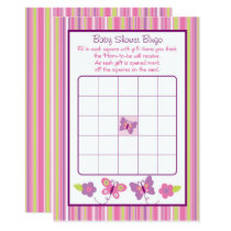 Pink Butterfly Baby Shower Bingo Card