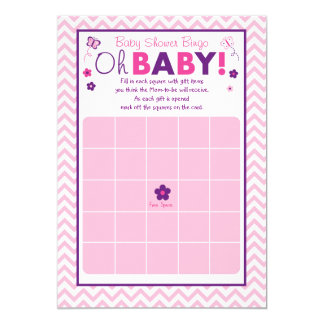Pink Butterfly Baby Shower Bingo Cards