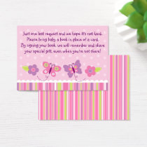 Pink Butterfly Baby Shower Book Request Cards