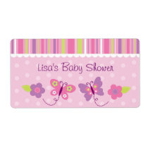 Pink Butterfly Baby Shower Favor Label
