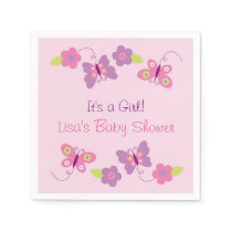 Pink Butterfly Baby Shower Paper Napkin