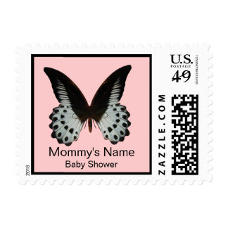 Pink Butterfly Baby Shower Postage