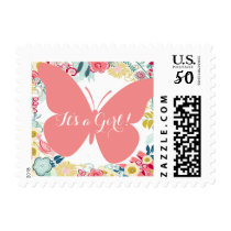 Pink Butterfly Baby Shower Postage Stamp Girl