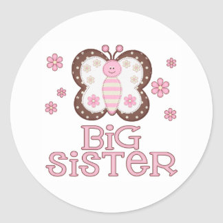 Pink Butterfly Big Sister Classic Round Sticker
