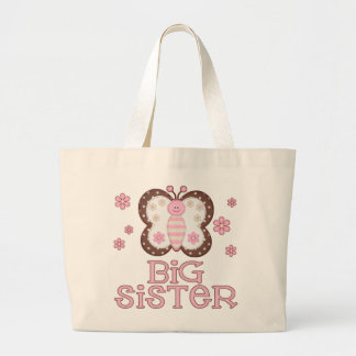 Pink Butterfly Big Sister Large Tote Bag