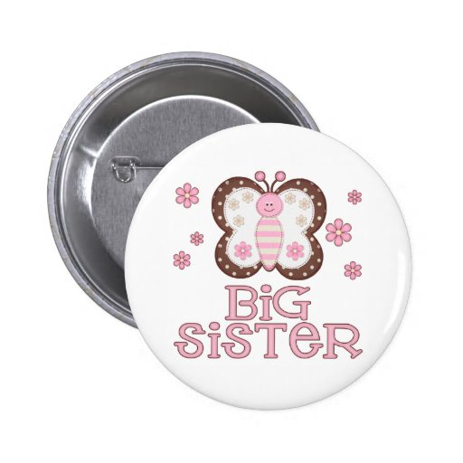 Pink Butterfly Big Sister Pinback Button
