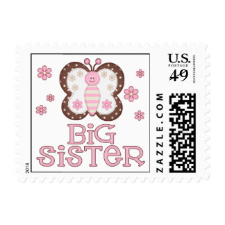 Pink Butterfly Big Sister Postage