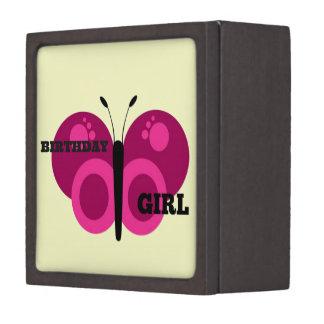 Pink Butterfly Birthday Girl Premium Trinket Box
