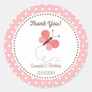 Pink Butterfly Birthday Sticker