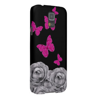 Pink Butterfly Black Roses Case For Galaxy S5