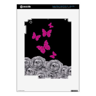 Pink Butterfly Black Roses Decals For iPad 3