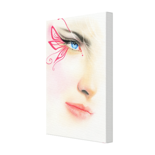 Pink Butterfly Blue Eye Wrapped Canvas Canvas Prints