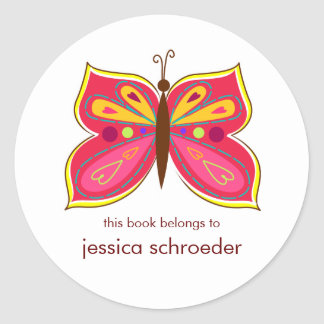 Pink Butterfly Book Plates Round Stickers