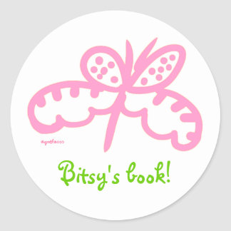 pink butterfly bookplate classic round sticker