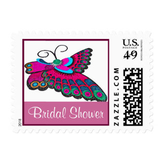 Pink Butterfly Bridal Shower Postage Stamp