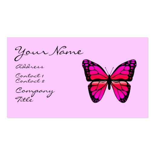 Pink butterfly business card zazzle for Butterfly business cards