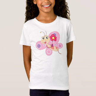 Pink Butterfly Cartoon - Kids T-Shirt