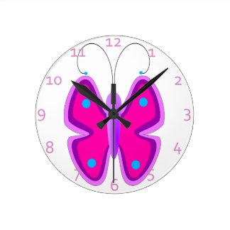 Pink Butterfly Round Wallclocks