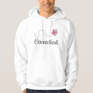 Pink Butterfly Connecticut Womens Hoodie