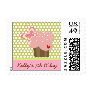 Pink Butterfly Cupcake Girl Birthday Party Stamps