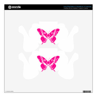 Pink Butterfly Decal For PS3 Controller