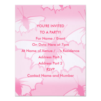 Pink Butterfly Design. 4.25x5.5 Paper Invitation Card