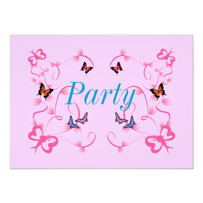 Pink Butterfly Design Party Invitation