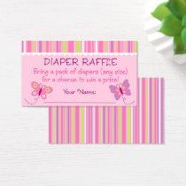 Pink Butterfly Diaper Raffle Tickets