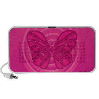 Pink butterfly doodle speakers