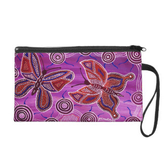 Pink Butterfly Dreaming Wristlet Bag