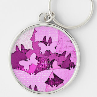 Pink Butterfly Dreams Silver-Colored Round Keychain