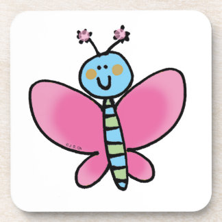 Pink butterfly drink coaster